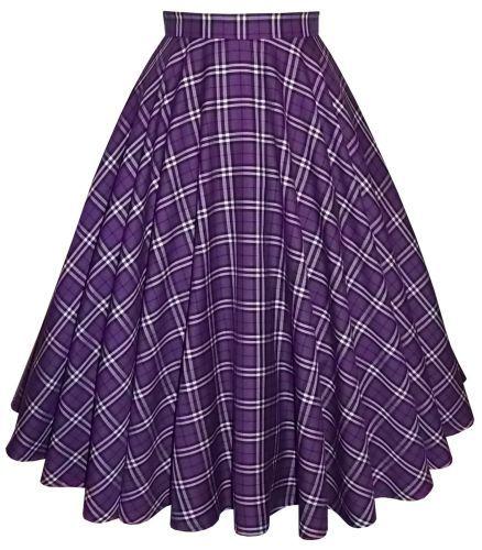 Purple/Black/White poly-viscose tartan full circle skirt