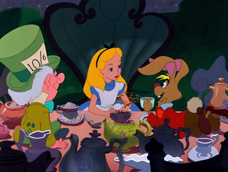Alice in Wonderland Cartoon 1951 | Alice with the Mad Hatter and March Hare during the Mad Tea Party.