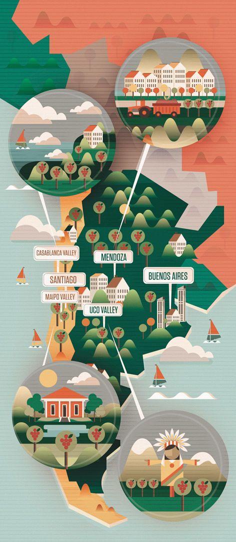 Majestic Wines Map & Icons / Neil Stevens #illustrazione #mappe #argentina