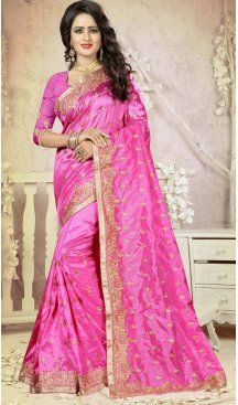 Pink Color Art Silk Embroidery Party Saree | FH586486345 Sale up to 19% off end in 31 July Hurry Follow us @Heenastyle