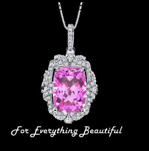 Pink Sapphire Cushion Cut Cubic Zirconia Framed Gallery Sterling Silver Pendant