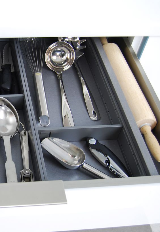 Metal #Drawers with Divided #Storage: #StainlessSteel modern Drawers and Roll-Out Shelves from Dura Supreme #Cabinetry are perfect for #organizing your utensils and #kitchen gadgets. They are a great fit for all styled kitchens including industrial style, contemporary style, transitional style, and even traditional style. They work well in high traffic kitchens as they are easy to clean and sanitize. They also have a unique look to add beauty to the interior of your drawers. Learn more about…