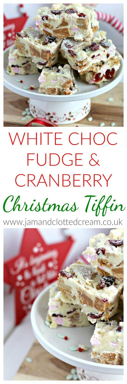 Festive White Chocolate, Fudge & Cranberry Tiffin