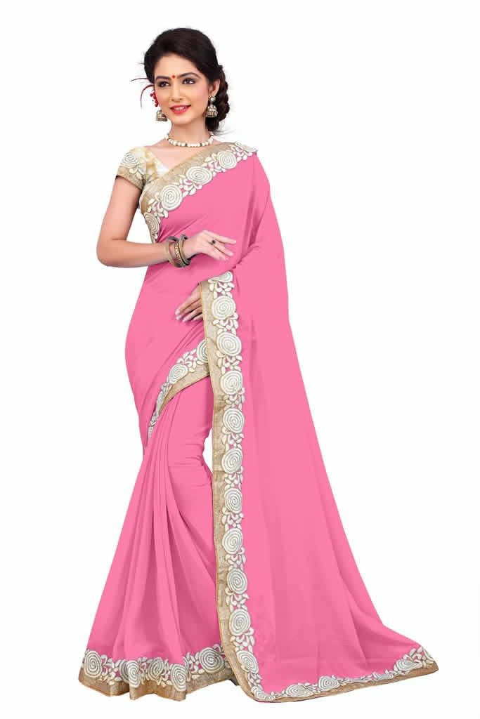buy saree online Pink Colour Heavy Embroidered Georgette Saree and Blouse Buy Saree online - Buy Sarees online