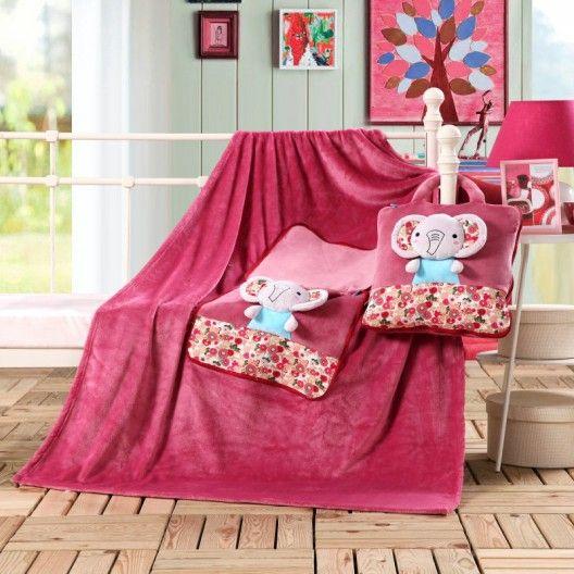 Ružová detská deka a vankúšik so sloníkmi