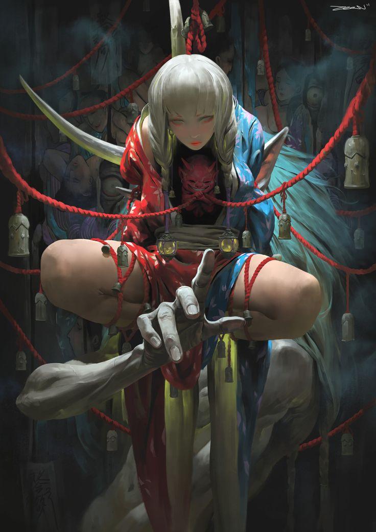 欲 。Desire, Zeen Chin on ArtStation at https://www.artstation.com/artwork/PqdKB