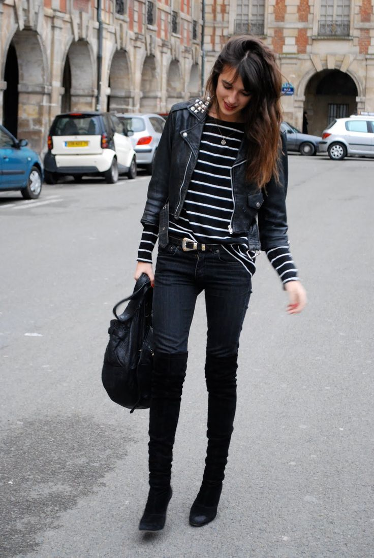 Love it all!! The stripes, suede over the knees, black leather jacket:
