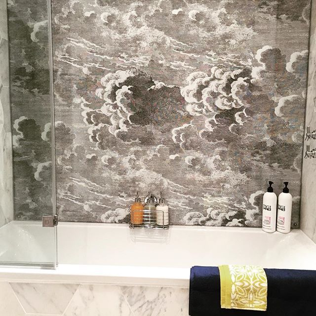 New #Bathroom #Installation in #Brighton reinforced glass with designer wallpaper behind