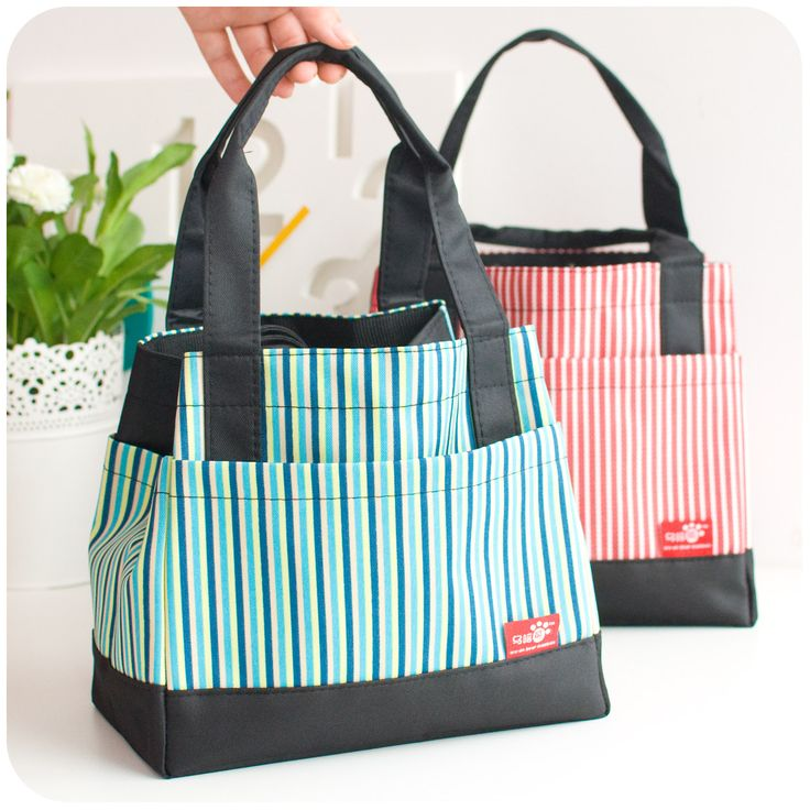 New 2013 korean fashion oxford fabric kids lunch boxes personalized lunch bags for women cute small square striped totes(China (Mainland))