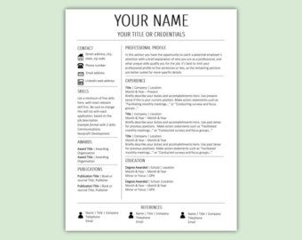 Stylish Modern Resume Template / CV Template  Cover Letter