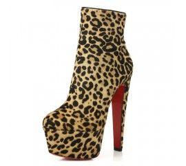 Women's leopard high heel platform short boot booties