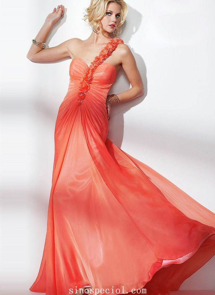 Appealing Watermelon A-line One-shoulder Flowers Floor Length Chiffon Evening Dress