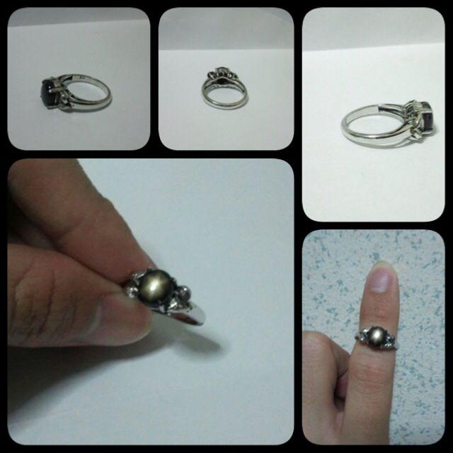 **Black Star Sapphire Antique White Gold Ring