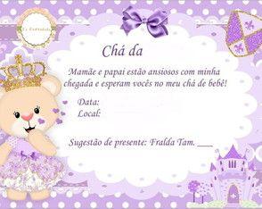 Convite Ursa Princesa Selinho Festa Princesa Convite Baby Kit E