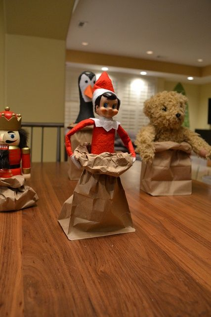 Paper bag race with other toys in the house.