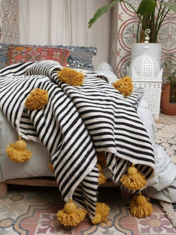 Black White Wool Striped Throw Moroccan Pompom Blanket White Throw Blanket Moroccan Throw Blanket Moroccan Blankets