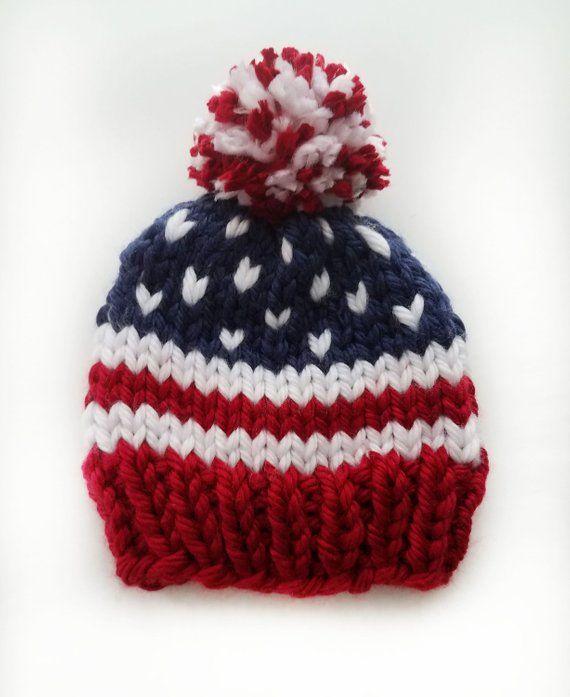 ee8c61befc1 patriotic knit hat - knit baby hat - knit toddler hat- knit child hat - team  USA hat - Winter hat - patriotic knit baby hat - pom pom hat