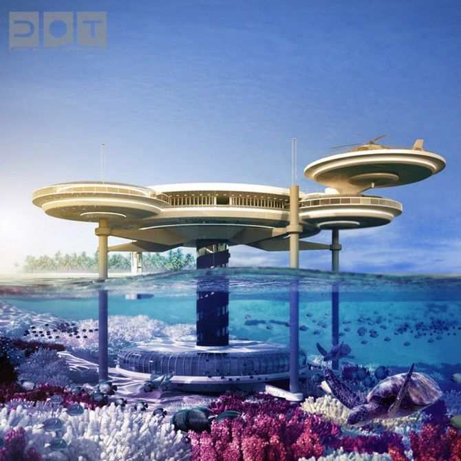 Water Discus Hotel 1. Once a dream in the fantasy world of a creative architect, now this underwater hotel is in the planning stages of its initial construction. The Water Discus will be a luxury hotel off the coast of Dubai, allowing its guests to sleep in luxury rooms under the deep blue sea, right there in Davy Jones' Locker.