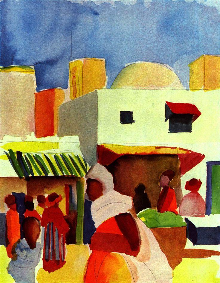 """August MACKE (1887-1914), """"Marché à Alger"""", 1914, aquarelle."""