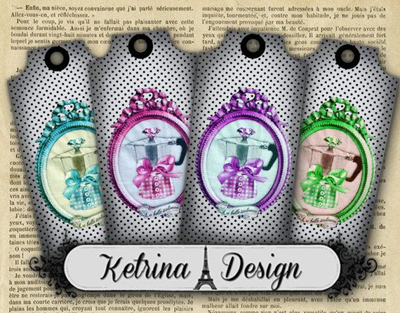 Vintage Coffee Maker Tags Labels Gift Tags Shabby by KetrinaDesign