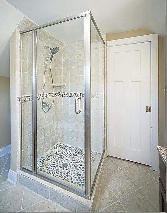 River rock shower base and accent band new bathroom for River rock bathroom ideas