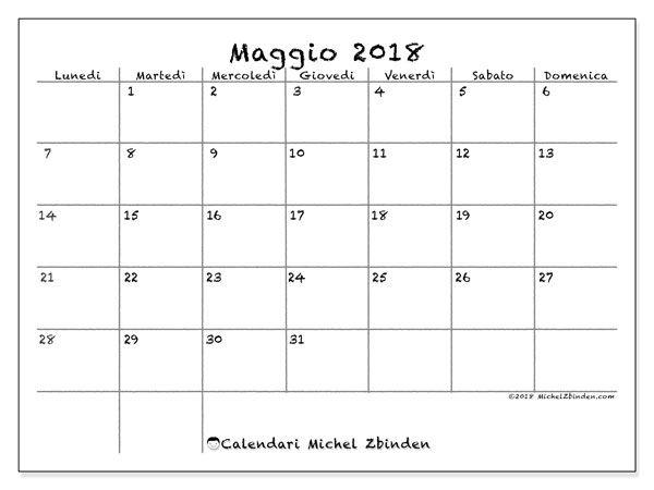 Calendario maggio 2018 (77LD)   Calendario, Calendario stampabile
