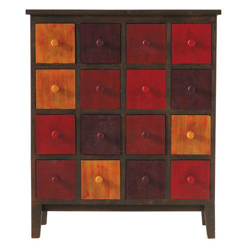 Cabinet de rangement en bois rouge L 73 cm