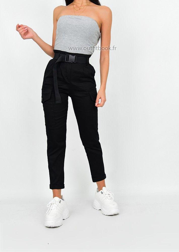 Pantalon Cargo Noir Avec Ceinture Cargo Pants Black Cargo Pants Black Belt