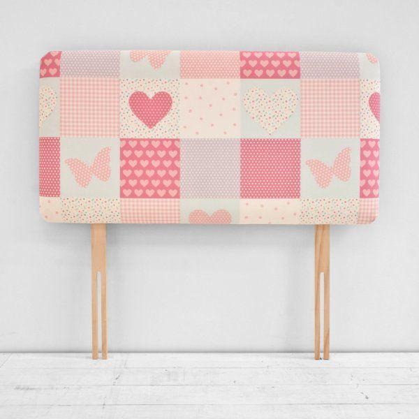 Patchwork Hearts Butterflies Pink Girls Childrens Single Bed Divan Headboard
