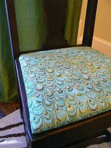 Possibility For Fabric To Recover Dining Room Chairs...Peacock Print.