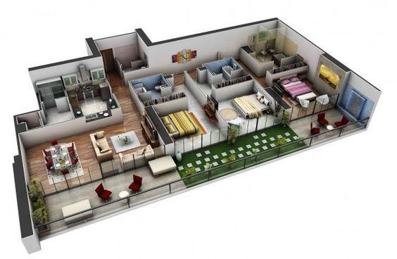 En un diseño amplio que sería perfecto para compañeros de habitación, esta casa de tres dormitorios incluye baño privado para cada habitación y un baño separado para invitados en el vestíbulo.  Áreas de descanso al aire libre completan este diseño moderno, lujoso.