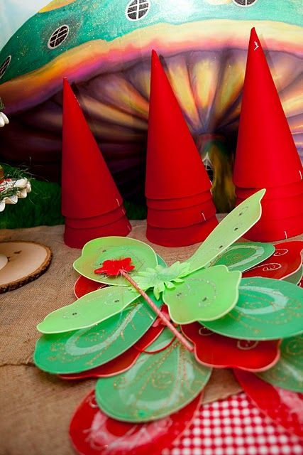girls: butterfly wings  boys: gnome hats