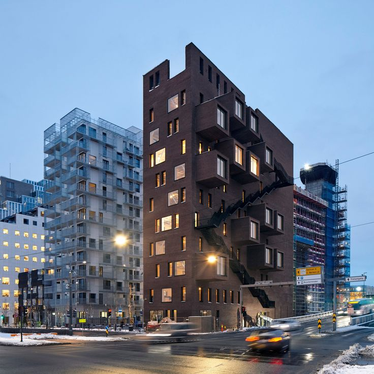 Meeting rooms cantilever from this wedge-shaped office block in Oslo by Norwegian firm A-Lab – the final building in the city's waterfront Barcode Project