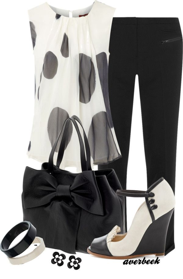 """""""Black and White Wedge Pump"""" by averbeek on Polyvore"""