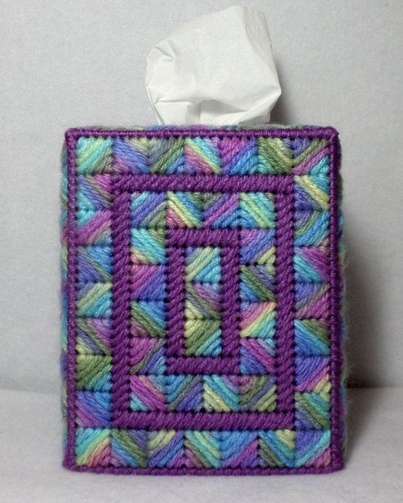 Boutique Tissue Box Cover Kaleidoscope Design in Monet and
