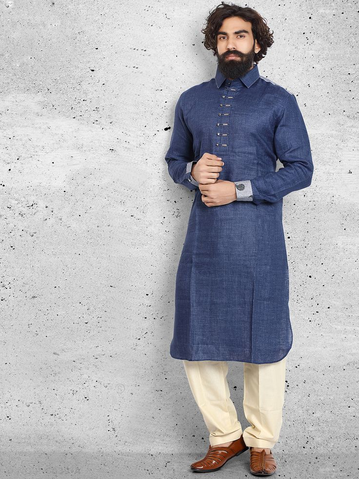 Linen Plain Navy Pathani Suit