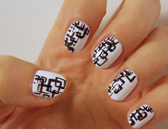 10 best aesthetic black and white nail art images on pinterest entrancing black geometric pattern on white nail art design idea for short nails black and white nail art nail art prinsesfo Image collections