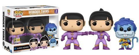 DC Super Heroes: Wonder Twins Jan, Jayna, and Gleek Pop set by Funko, 2017 San Diego Comic Con exclusive