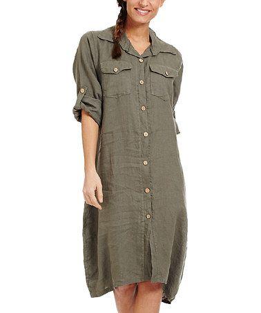 Look at this #zulilyfind! Khaki Linen Shirt Dress #zulilyfinds
