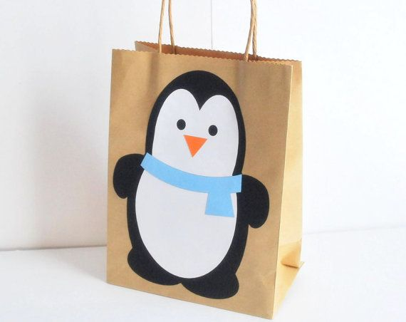 Winter Penguin Party Favor Bag Birthday GIFT bag by Mariapalito