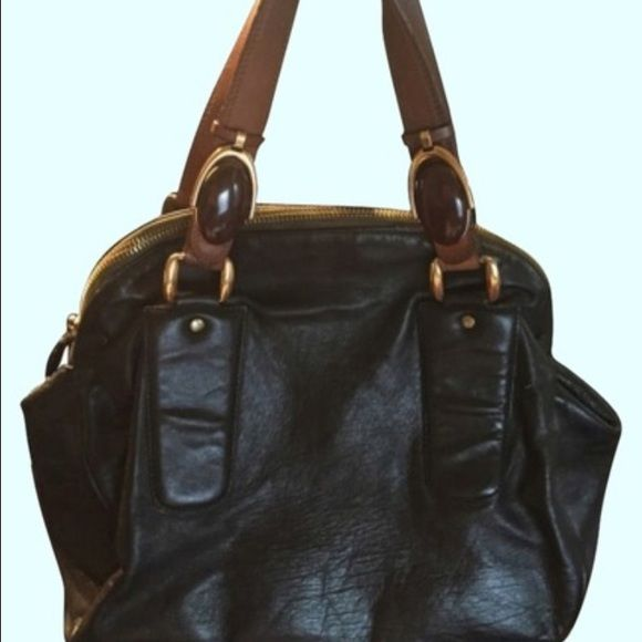 """Chloe Handbag Authentic chloe handbag/hobo style. Dark brown leather with lighter leather straps with gold hatdware. No visible sign of wear on the outside. Just the straps. With dustbag. 13"""" x 7.25"""" x 11.5"""" Chloe Bags Hobos"""