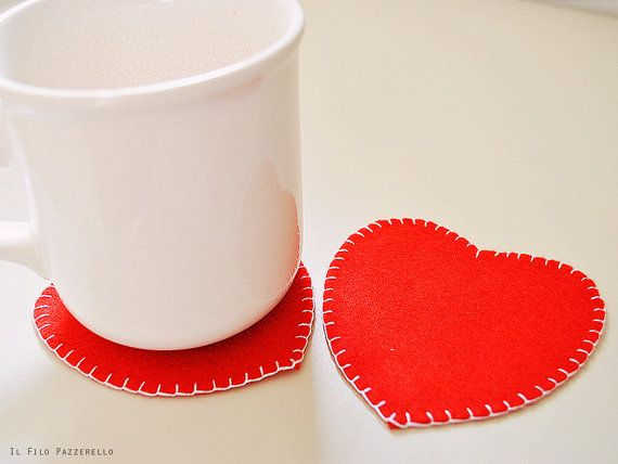 Heart-shaped coasters for Valentine's Day, hand embroidered