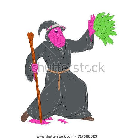 Grime art style illustration of a Wizard sorcerer holding wooden staff Casting Spell on hand splat on isolated background.  #wizard #grimeart #illustration