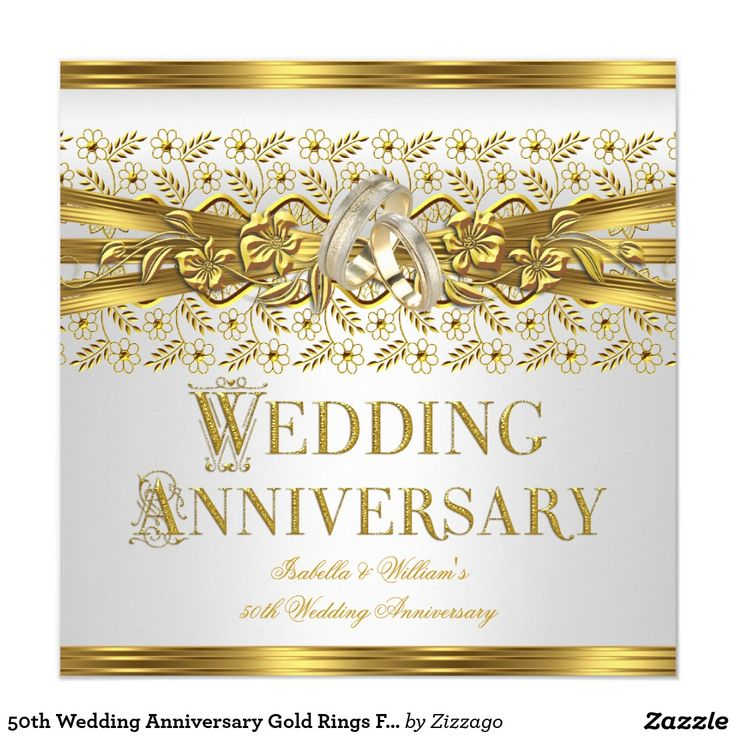 50th Wedding Anniversary Gold Rings Floral White 5.25x5.25 Square Paper Invitation Card
