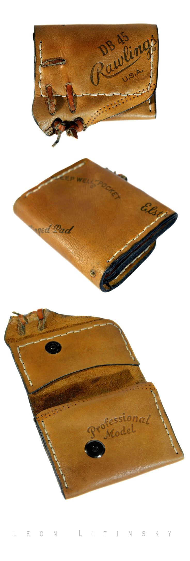 Recycled baseball glove wallet - Baseball Glove Transformation By Leon Litinsky