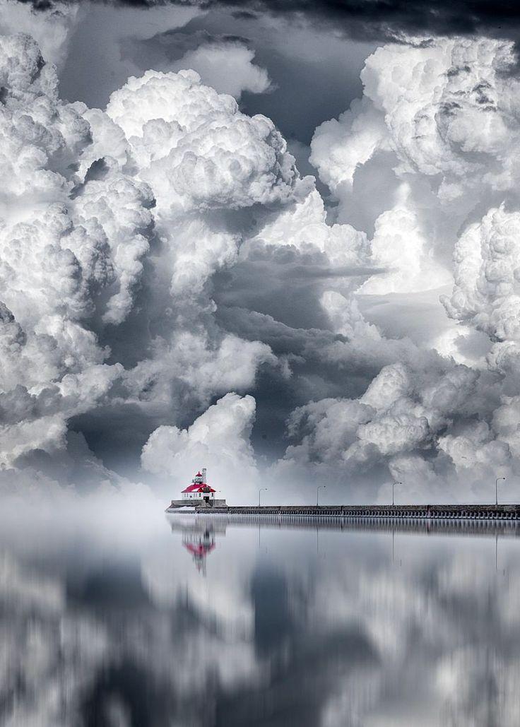 "coiour-my-world: "" A cloudy Day ~ Canal Park Lighthouse, Duluth, Minnesota """