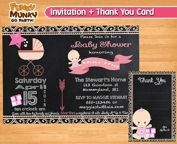Girl Baby Shower Invitation  Chalkboard by funkymunkygoparty