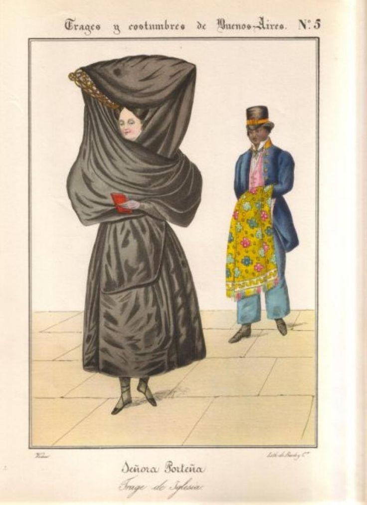 salones 1830 - César Hipólito Bacle. Señora porteña con trage de paseo e Iglesia ...