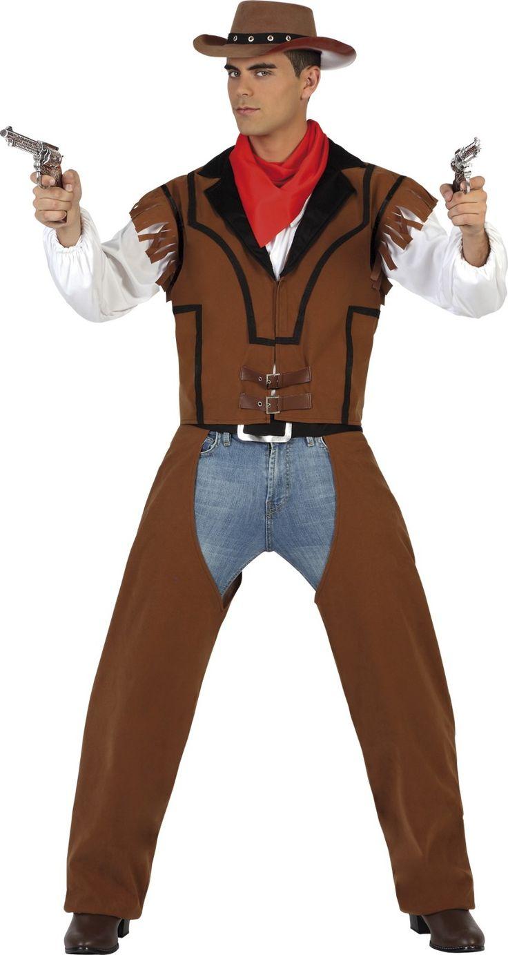Este disfraz de vaquero para hombre incluye un chaleco , unos cubre pantalones y un pañuelo.  Es ideal para Carnaval o fiestas temáticas sobre el Oeste.