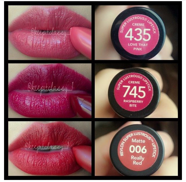 Revlon Lipsticks: 435- Love That Pink 745- Raspberry Bite 006- Really Red